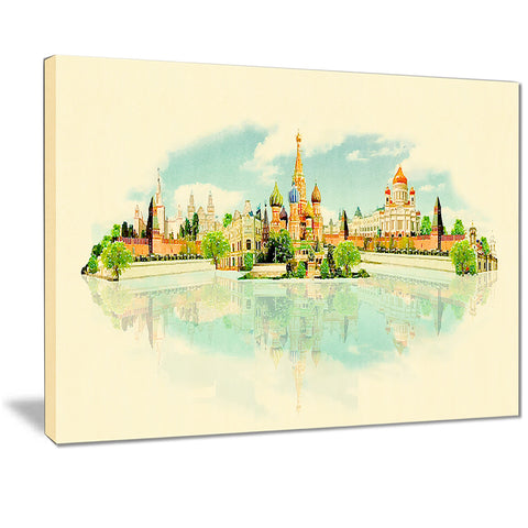 moscow panoramic view cityscape watercolor canvas print PT7387