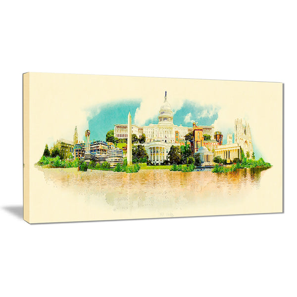 washington panoramic view cityscape watercolor canvas print PT7391