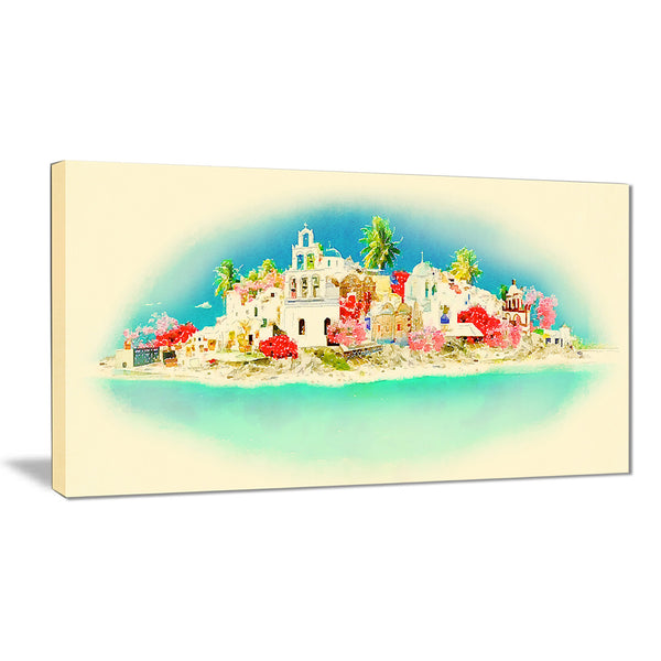 santorini panoramic view cityscape watercolor canvas print PT7394