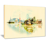 tokyo panoramic view cityscape watercolor canvas print PT7395