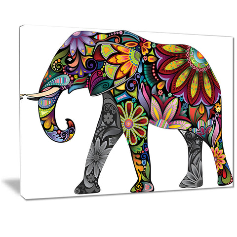 yellow cheerful elephant animal digital art canvas print PT7412
