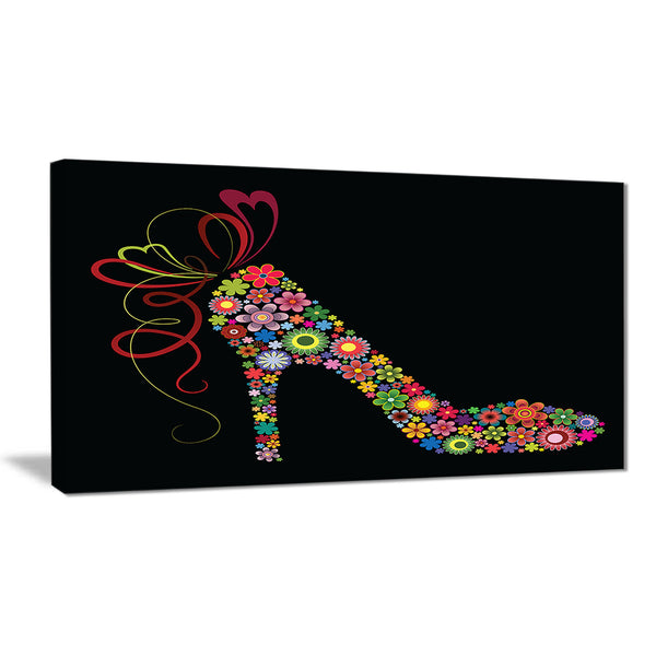 colorful shoe with a bow digital art print on canvas PT7418
