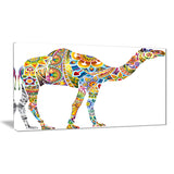 cheerful floral camel digital art canvas print PT7419
