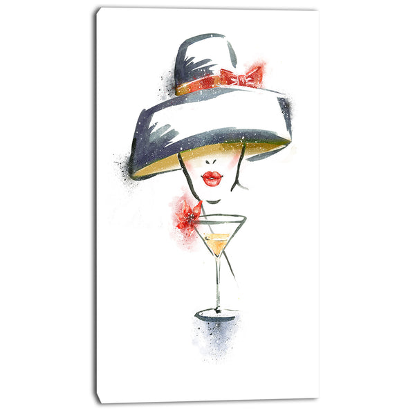 woman with hat and cocktail watercolor portrait canvas print PT7423