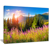 mountains with pink flowers landscape floral canvas print PT7426