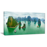 tourist junks at ha long bay vietnam landscape canvas print PT7436