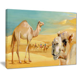 wandering camels in desert watercolor animal canvas print PT7437