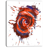 red multicolor stain abstract watercolor canvas art print PT7443