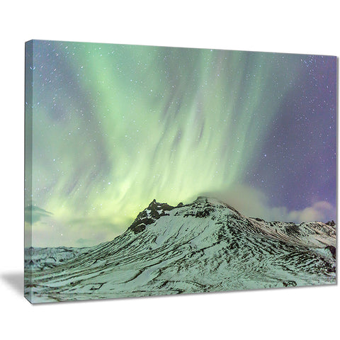 northern light in iceland landscape photo canvas art print PT7449