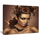woman with chocolate in head portrait canvas art print PT7460