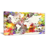 world map in great colors watercolor map canvas art print PT7462