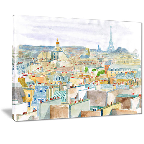 city of paris watercolor cityscape canvas art print PT7467