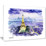 eiffel tower on blue background painting canvas art print PT7468