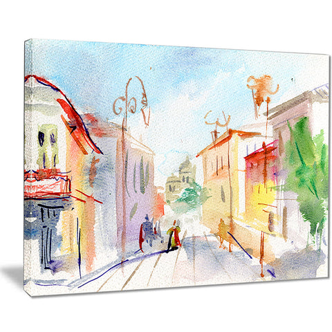 illustrated parisian street watercolor cityscape canvas print PT7469