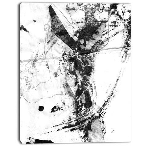 abstract black stain modern abstract canvas art print PT7474