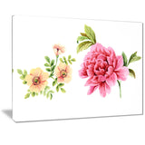 pink and orange flowers watercolor floral art canvas print PT7475