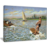 water skiing photography canvas art print PT7476