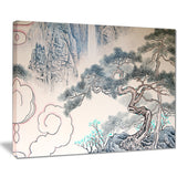 chinese blue tree art floral painting canvas print PT7495