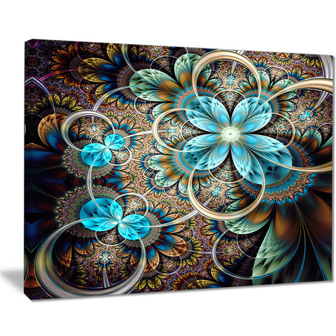 colorful fractal flowers with blue shade digital art canvas print PT7498