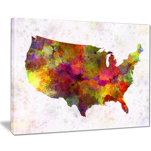 united states map in colors watercolor painting canvas print PT7504
