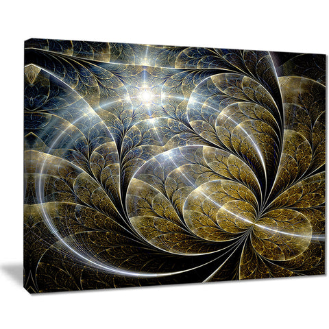 symmetrical gold fractal flower with lighting floral canvas print PT7505