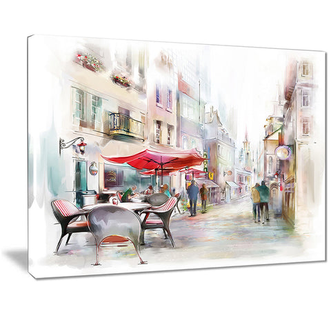 illustrated street art cityscape digital art cityscape canvas print PT7508