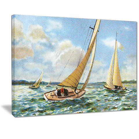 vintage boats sailing seascape painting canvas art print PT7511