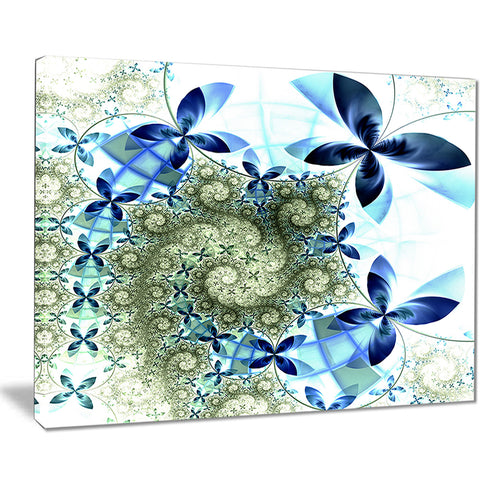 blue and green fractal flowers digital art floral canvas print PT7514