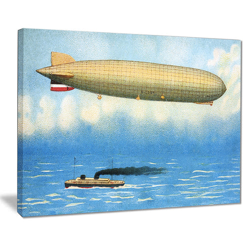 airship illustration digital art canvas print PT7516