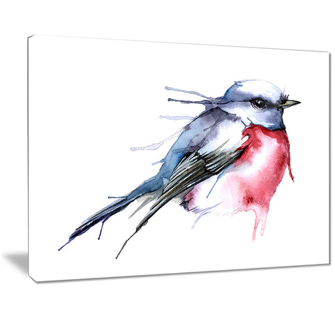 bird in blue and red watercolor animal canvas art print PT7522