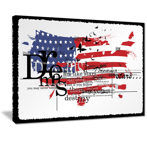 vintage fashion usa flag map canvas art print PT7526