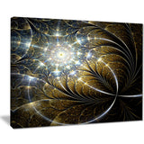 symmetrical dark golden fractal flower abstract canvas print PT7527