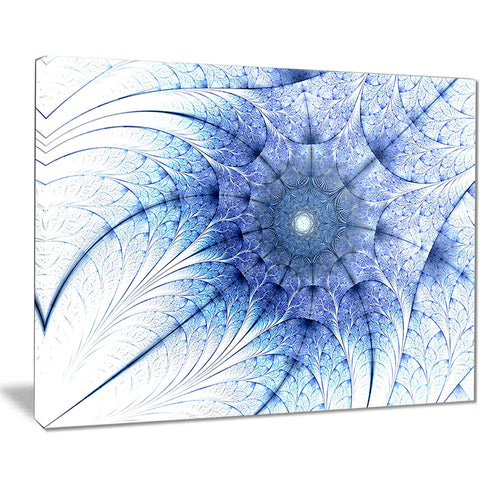symmetrical blue fractal flower on white abstract canvas print PT7528