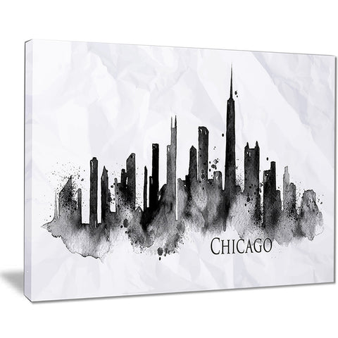 chicago black silhouette cityscape painting canvas print PT7533
