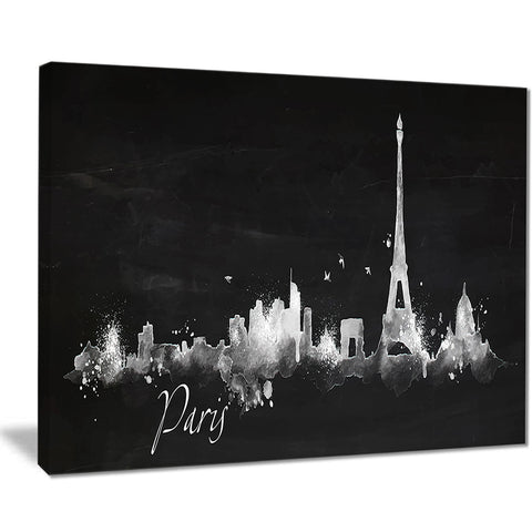 paris dark silhouette cityscape painting canvas print PT7534