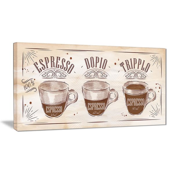 espresso kraf brown poster canvas art print PT7536