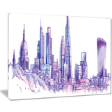 purple london skyline cityscape painting canvas print PT7545