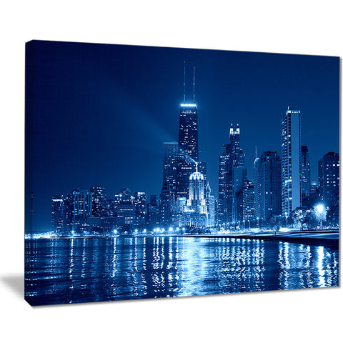 blue chicago skyline night cityscape photo canvas print PT7546