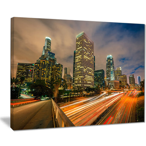 los angeles yellow skyline night cityscape canvas print PT7547