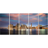 manhattan at nighttime cityscape photography canvas print PT7564