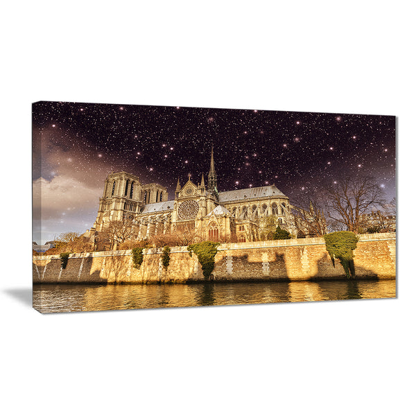 notre dame cathedral at night cityscape photo canvas print PT7574