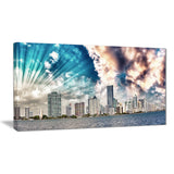miami skyline with clouds cityscape photo canvas print PT7576