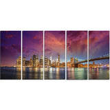 new york city manhattan skyline red cityscape photo canvas print PT7580