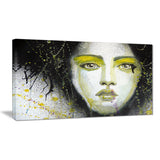 girl with yellow eye line portrait digital art canvas print PT7594