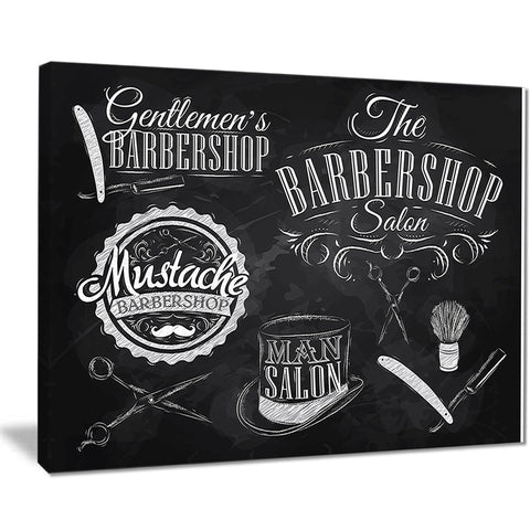 set barbershop digital art canvas art print PT7597