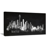 seattle dark silhouette cityscape painting canvas print PT7603