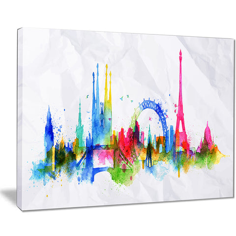 colorful paris silhouette cityscape painting canvas print PT7609
