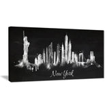 new york dark silhouette cityscape painting canvas print PT7611