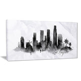 los angeles black silhouette cityscape painting canvas print PT7612