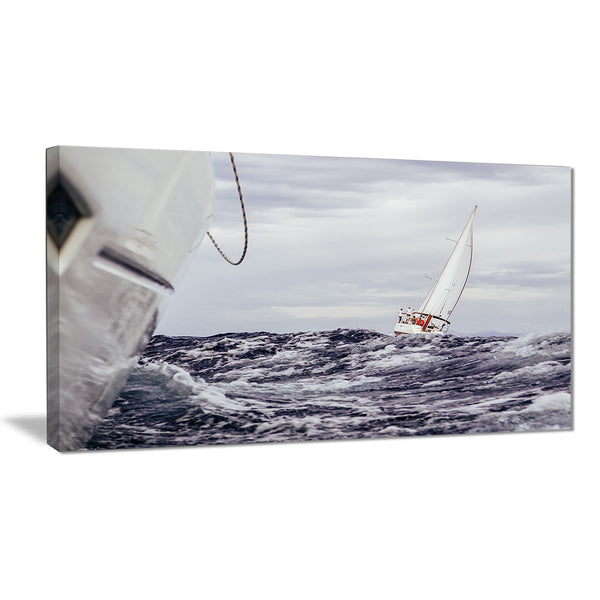 storm while sailing seascape painting canvas print PT7616